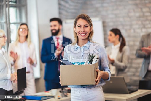639540494 istock photo New member of team, newcomer, applauding to female employee, congratulating office worker with promotion 1143669116