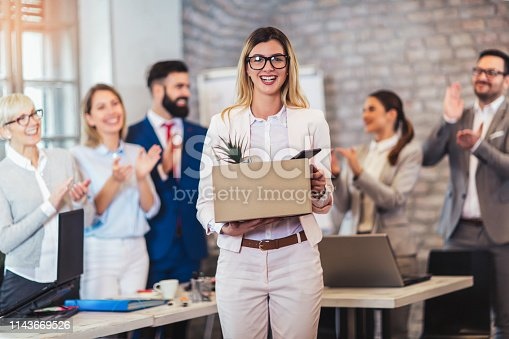 639540494 istock photo New member of team, newcomer, applauding to female employee, congratulating office worker with promotion 1143669526