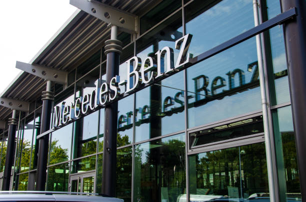 New Mercedes Benz in the Car showroom. stock photo