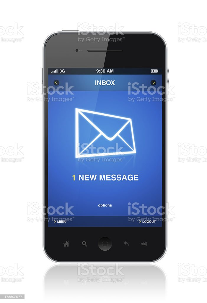 New message on mobile phone stock photo