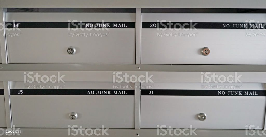 New Metal Mailboxes In An Apartment Building With Flat ...