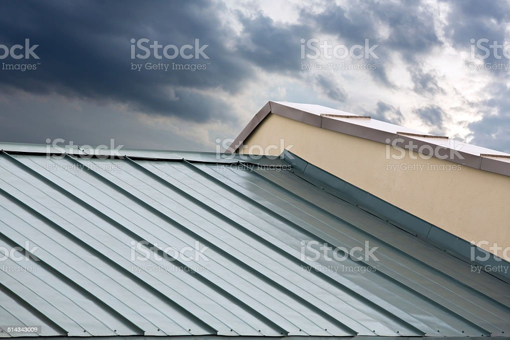 New metal roof stock photo