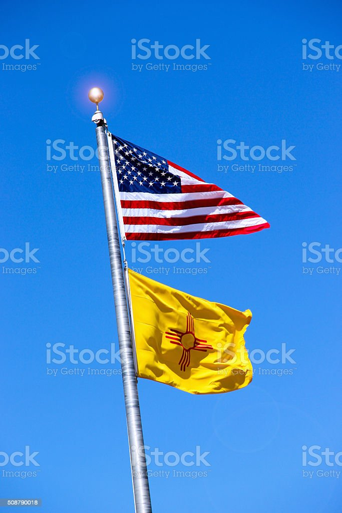 US & New Mexico Flags stock photo