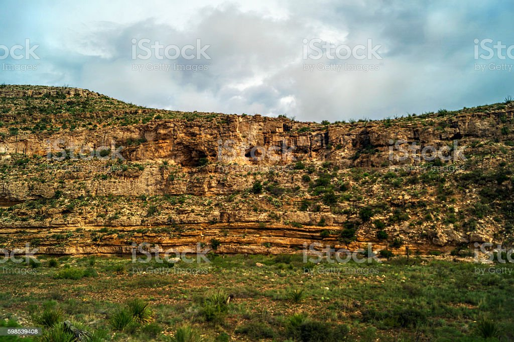 New Mexico landscape with rock, sky and plants royalty-free stock photo