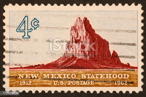 1962 postage stamp celebrating 50 years of statehood for New Mexico.  Shiprock.