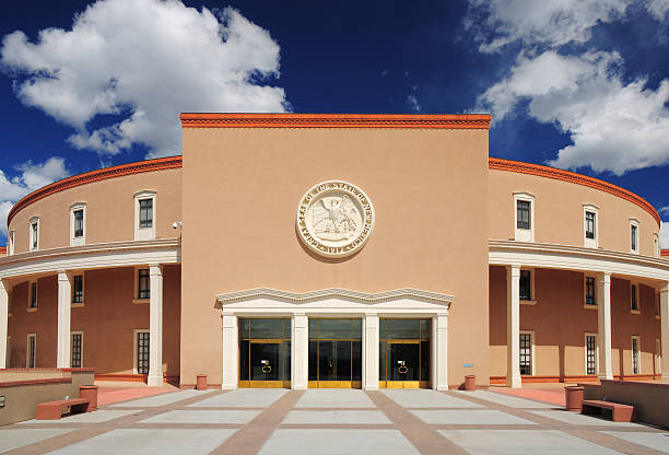 New Mexico State Capitol Front View of the New Mexico State Capitol Building in the city of Santa Fe. state capitol building stock pictures, royalty-free photos & images