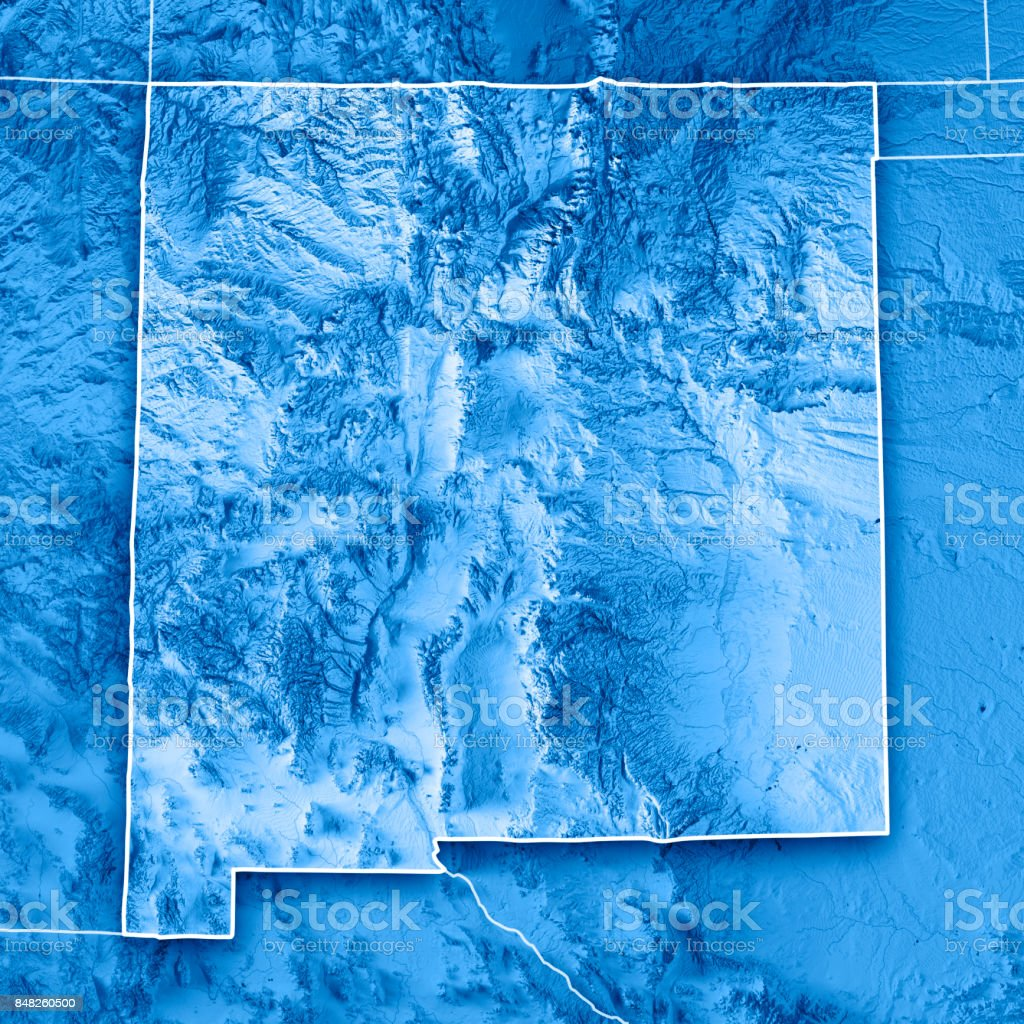 New Mexico State USA 3D Render Topographic Map Blue Border stock photo