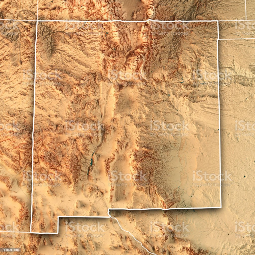New Mexico State USA 3D Render Topographic Map Border stock photo