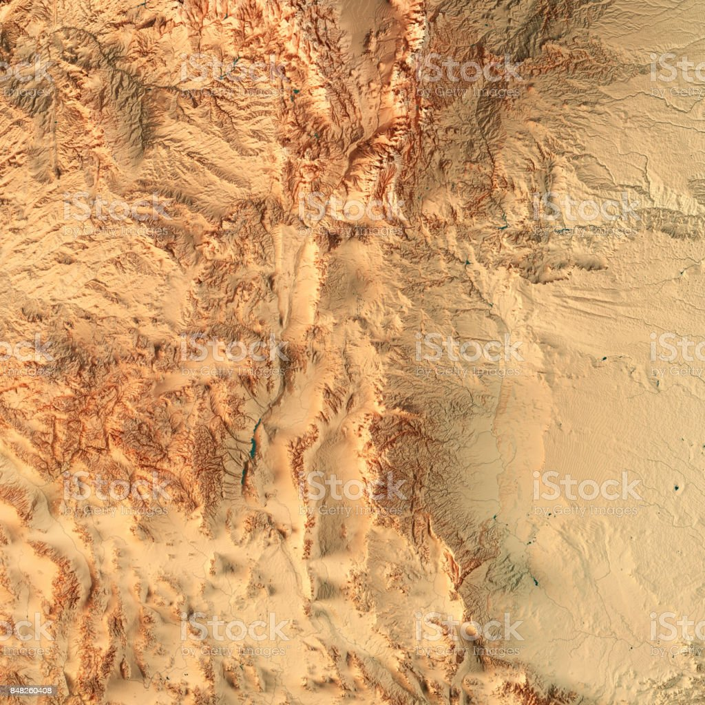 New Mexico State USA 3D Render Topographic Map stock photo