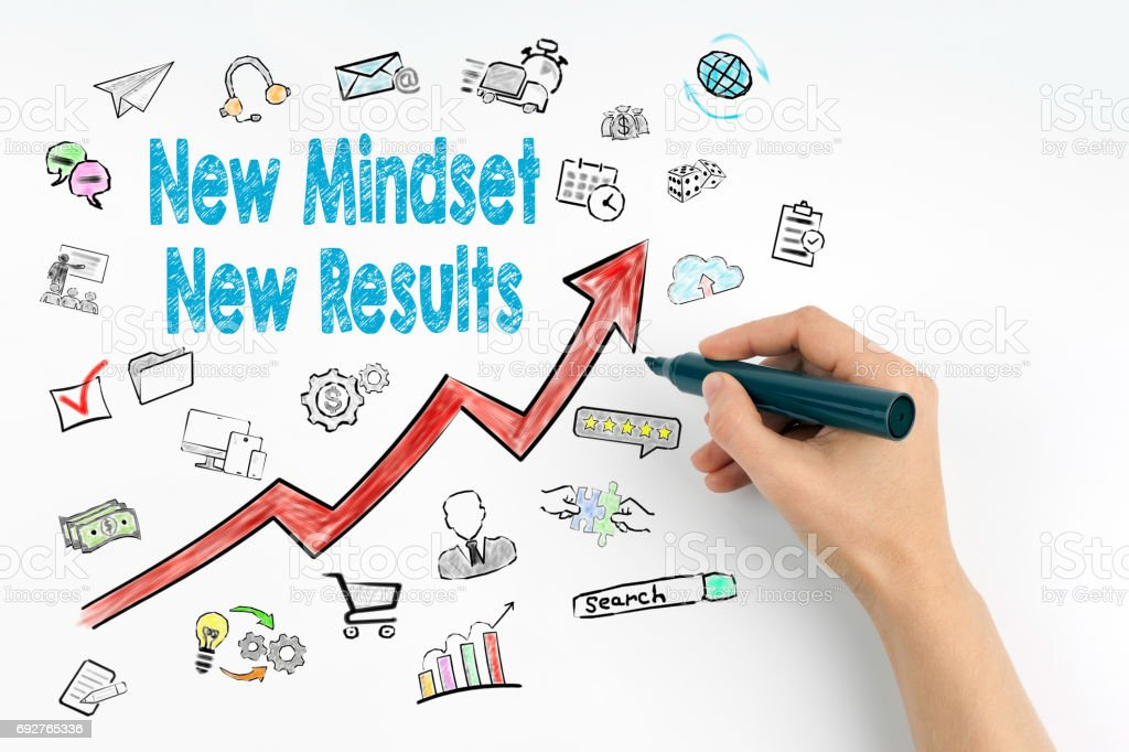 New Mindset New Results Concept. Hand with marker writing stock photo