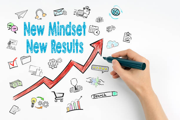 new mindset new results concept. hand with marker writing - attitude stock photos and pictures