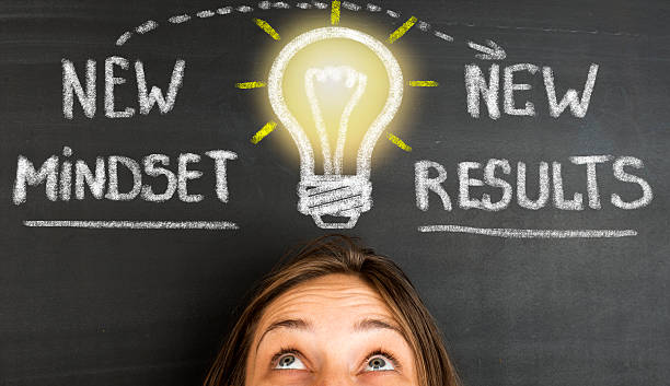 New Mindset New Results concept on blackboard - foto de stock