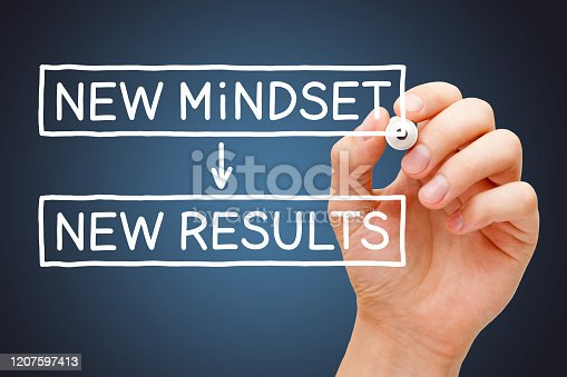 Hand writing New Mindset New Results concept with white marker on transparent wipe board on dark blue background.
