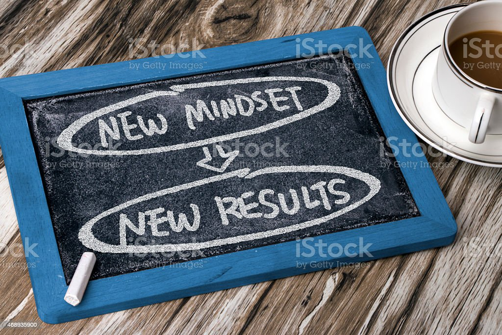 new mindset new results concept stock photo