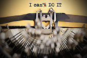 "New mind-set or positive thinking concept with ""I can't do it text written with typewriting machine"