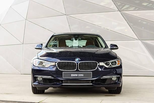New model of powerful BMW 335i prestigious modern car stock photo