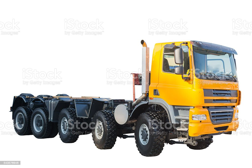 New model semi heavy truck isolated over white background stock photo
