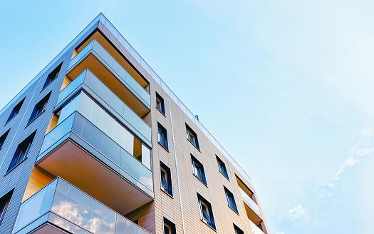 EU New modern apartment building exterior concept. Residential house and home.
