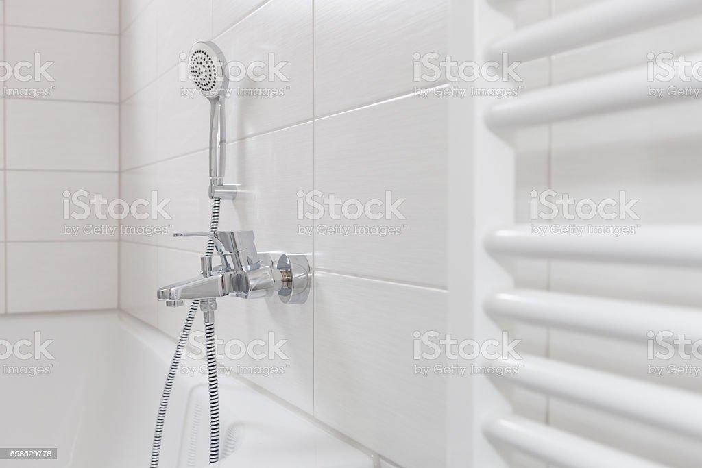 new modern bathroom in white - foto de acervo