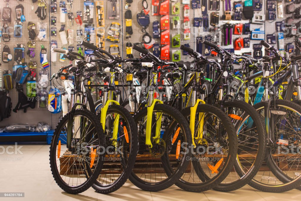 new modern bicycles selling in bike shop stock photo