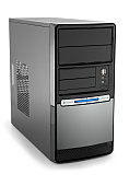 modern pc tower with copyspace, clipping path includet
