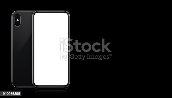 istock New modern black smartphone mockup front and back sides on black background with copy space 910066396