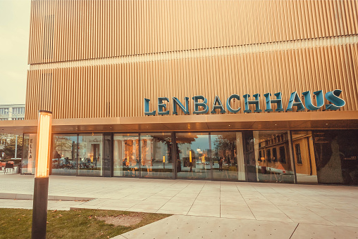 Munich, Germany - November 17, 2017: New modern building of the Lenbachhaus, art museum with paintings by Kandinsky and Paul Klee on November 17, 2017. Munich is 12th largest city in European Union