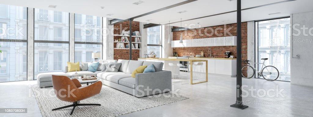 Apartamento loft moderno de la ciudad. Render 3D foto de stock libre de derechos