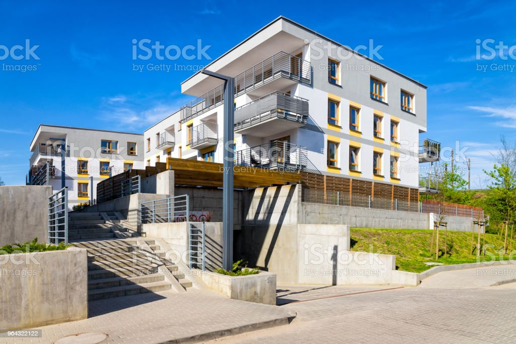 New modern complex of apartment buildings with underground garage,...