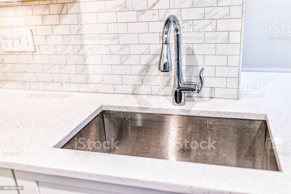 New Modern Faucet And Kitchen Sink Closeup With Granite Countertops Stock Photo Download Image Now Istock