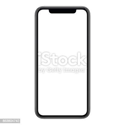 istock New modern frameless smartphone mockup with white screen isolated on white background 853804742