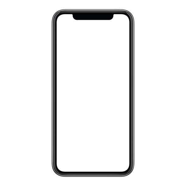 nuovo moderno mockup per smartphone senza cornice con schermo bianco isolato su sfondo bianco - smart phone foto e immagini stock