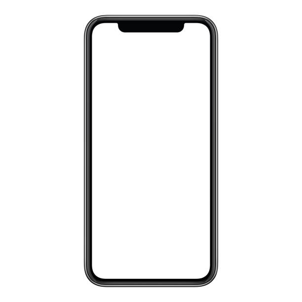 new modern frameless smartphone mockup with white screen isolated on white background - смартфон стоковые фото и изображения