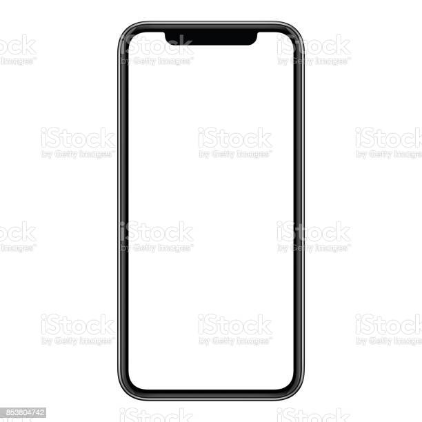 Smartphone mockup. New modern black frameless smartphone mockup with blank white screen. Isolated on white background. Based on high-quality studio shot. Smartphone frameless design concept.