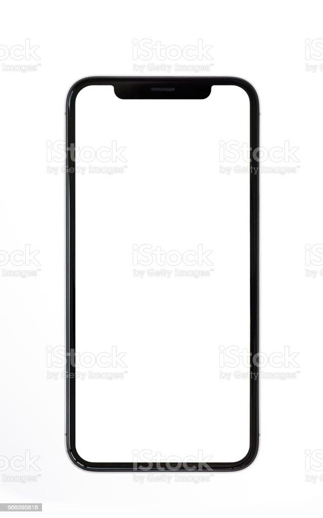 Neue moderne rahmenlose Smartphone-Modell mit weißen Schirm isoliert auf weißem Hintergrund – Foto