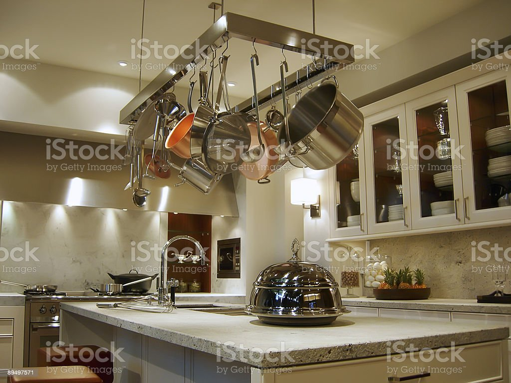 New Modern Kitchen With A Rack Of Hanging Pots And Pans Stock Photo Download Image Now Istock