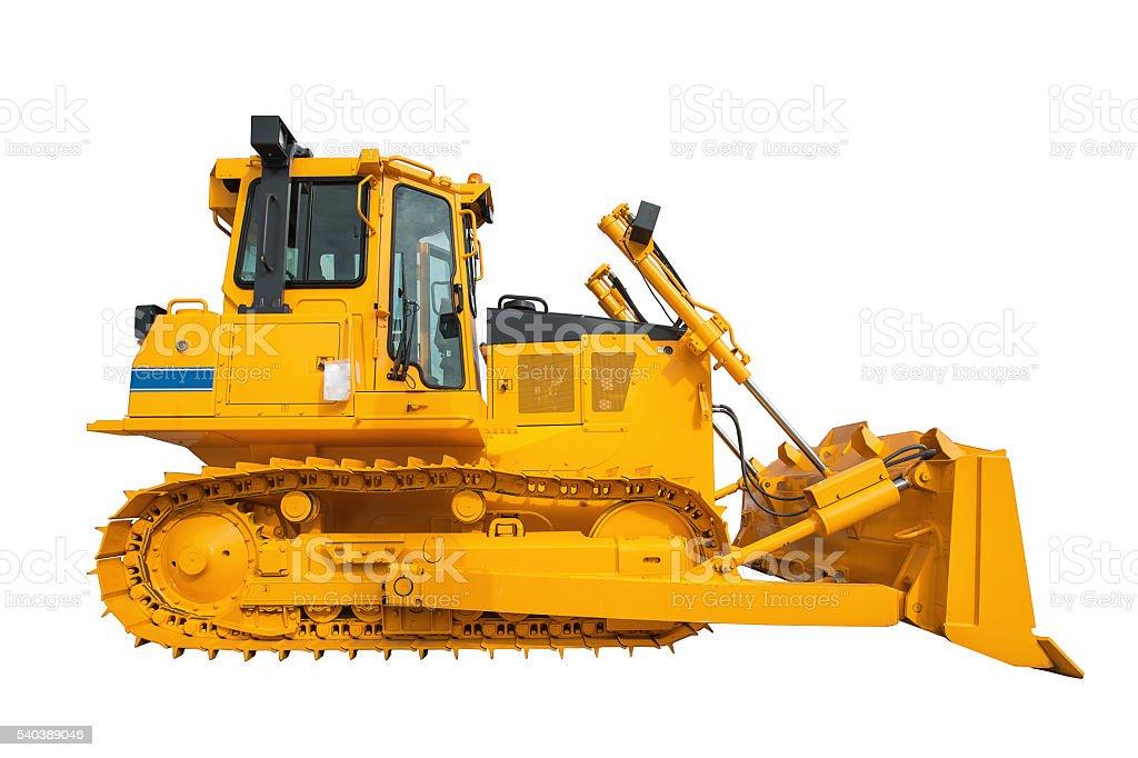 New modern loader or bulldozer - excavator isolated on white – Foto