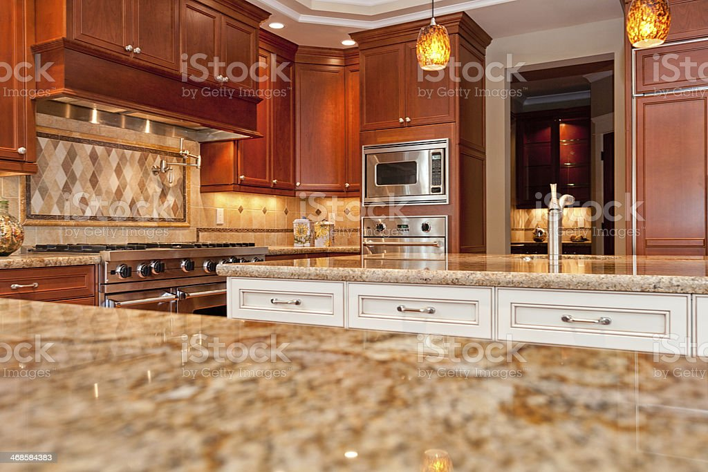 New Modern Luxury Kitchen copy space stock photo