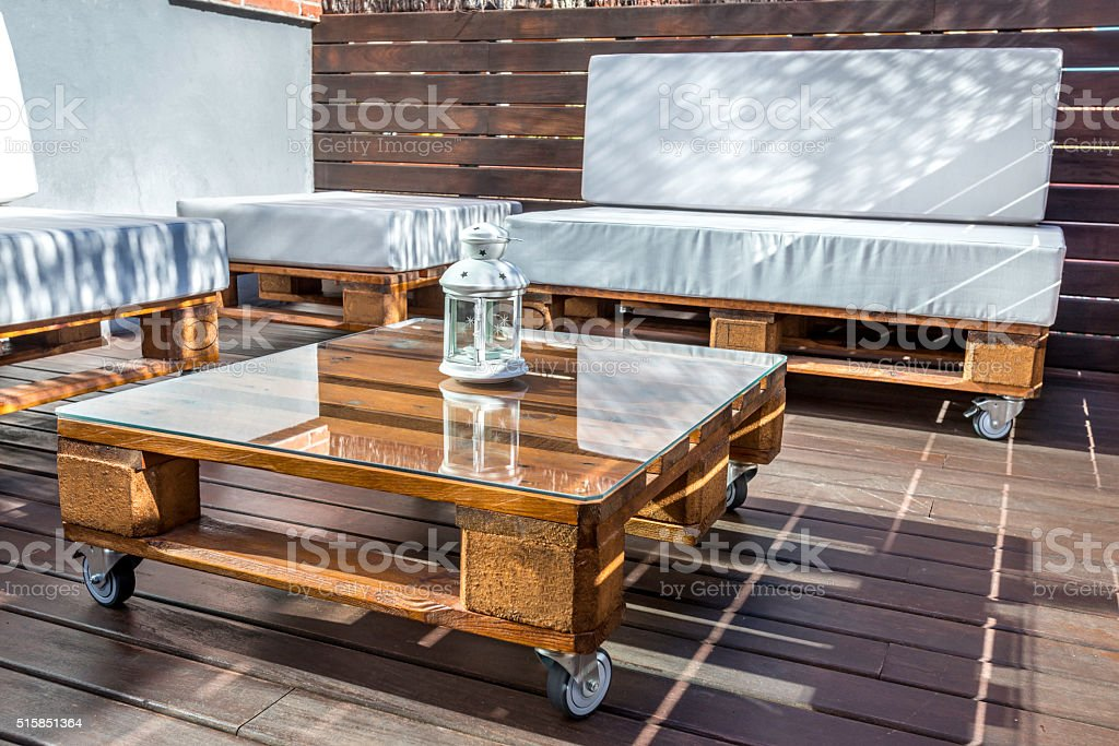 New modern pallet forniture stock photo
