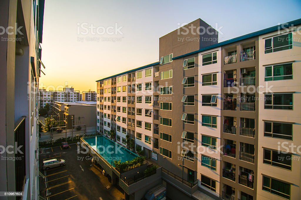 New modern Residential Apartment Block stock photo
