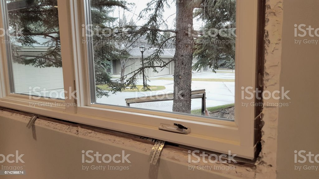 New Modern Residential WIndow In Place stock photo