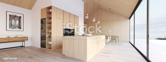 istock new modern scandinavian loft apartment. 3d rendering 1083704184