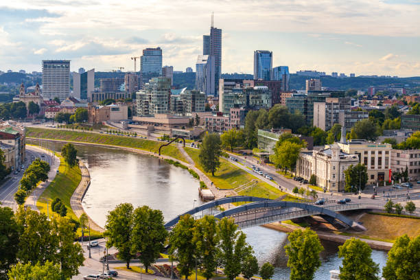 New modern skyscrapers in Vilnius. The VILNIUS BUSINESS HARBOUR is a solid business centre in the new centre of Vilnius, remarkable of its architecture and modernity. stock photo