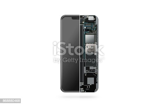 istock New modern smart phone internal isolated, chip, motherboard 868880468