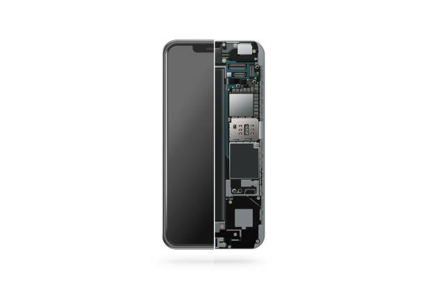 New modern smart phone internal isolated, chip, motherboard - foto stock