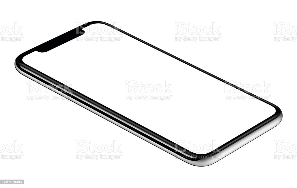 New modern smartphone mockup CCW slightly rotated isolated on white background stock photo