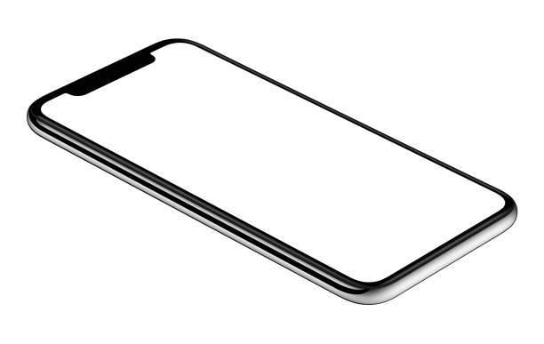 yeni modern smartphone mockup ccw biraz üzerinde izole beyaz arka plan döndürülmüş - yatmak stok fotoğraflar ve resimler