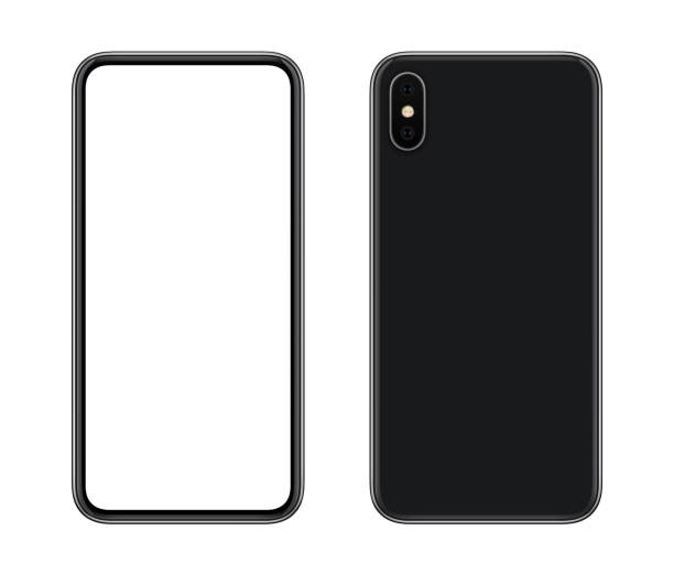 Nouveau smartphone moderne maquette avant et arrière à isolé sur fond blanc - Photo