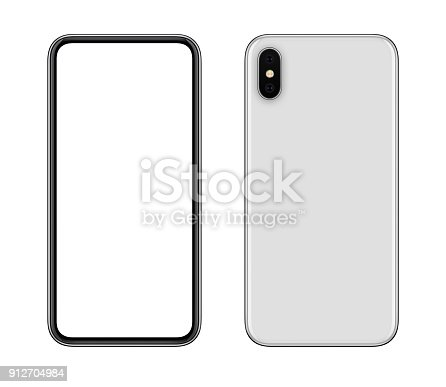 istock New modern white smartphone mockup front and back sides isolated on white background 912704984