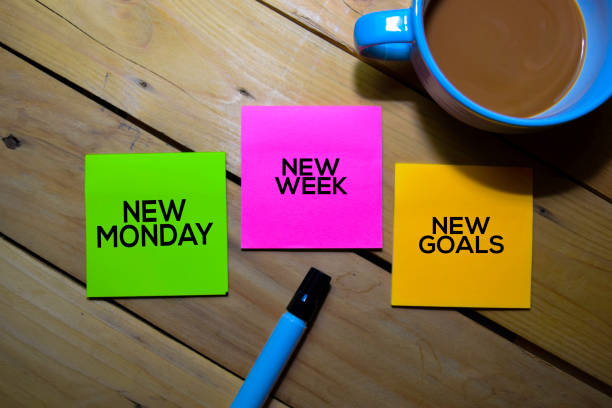 New Monday New Week New Goals text on sticky notes isolated on table background stock photo